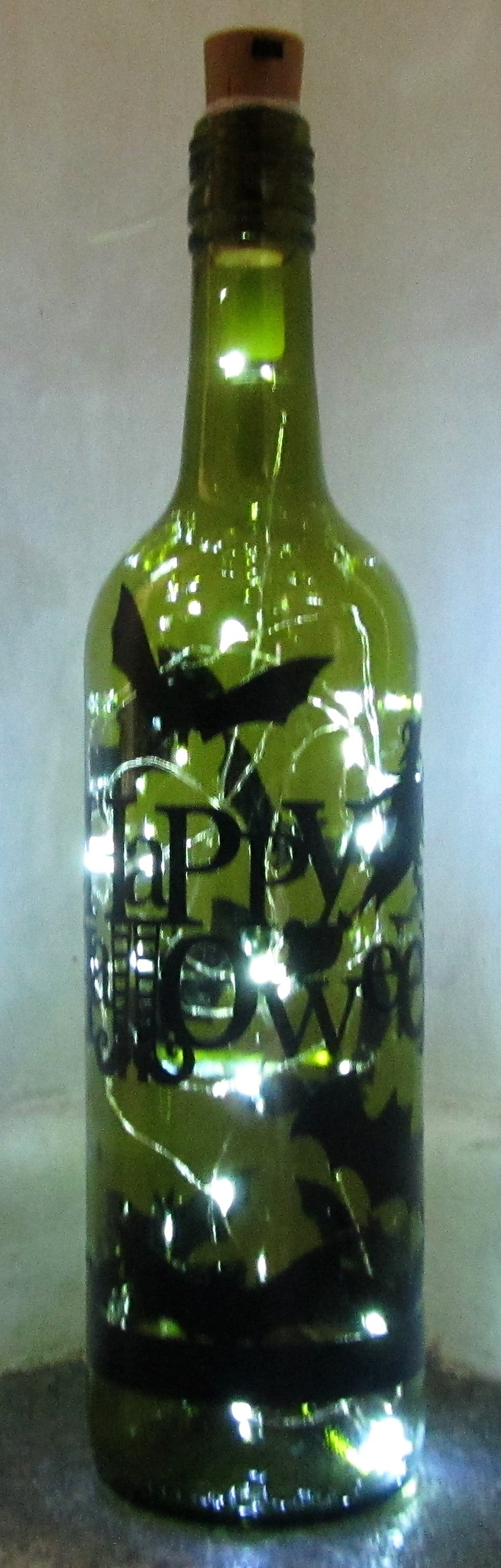 Purchase your Unique handcrafted Happy Halloween light up bottle with bats and witch