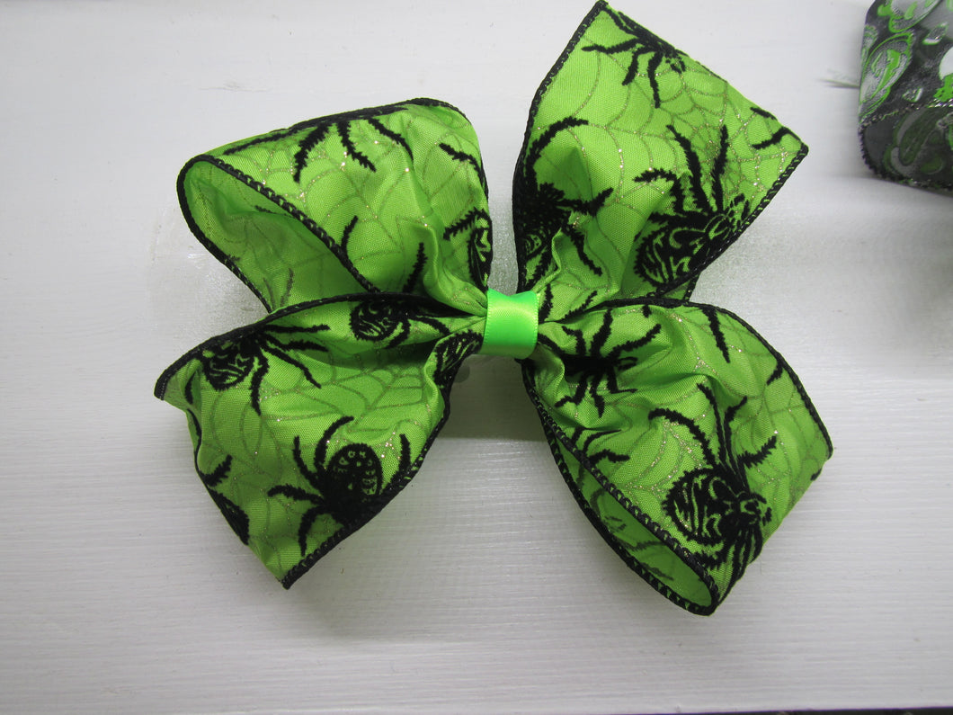 Halloween Bow - Green with black spiders