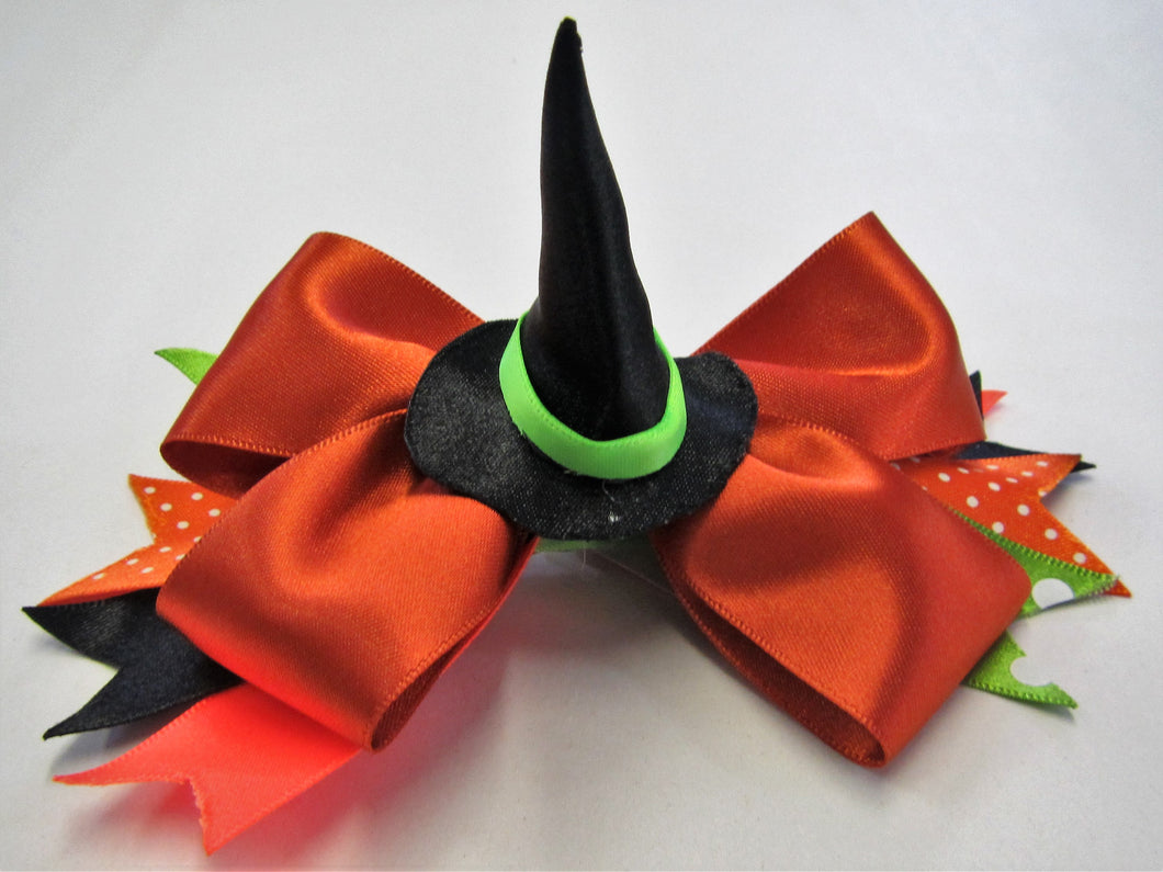 Handcrafted Halloween Bow - with witches hat