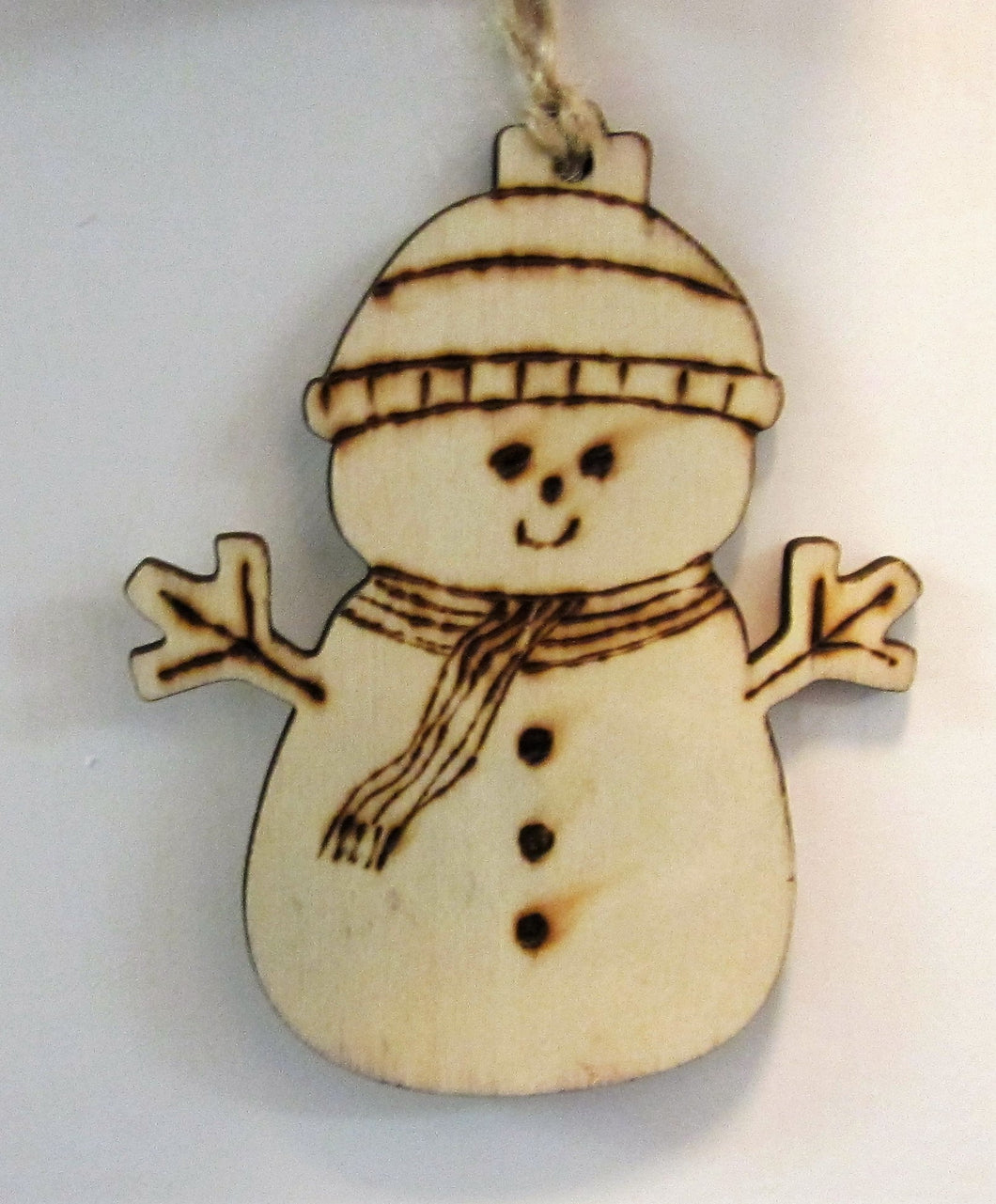 Beautiful handcrafted wooden snowman decoration
