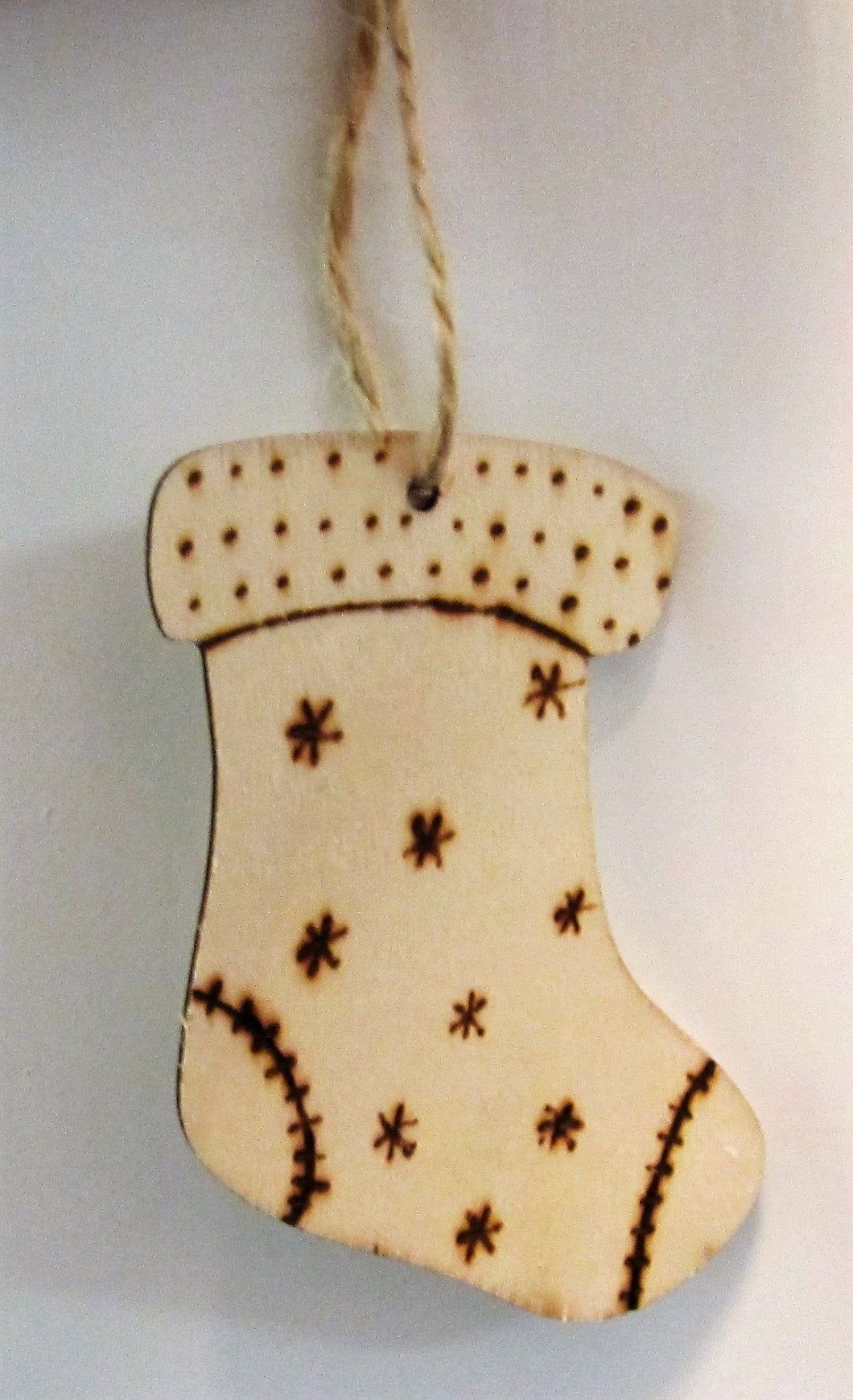 Beautiful handcrafted wooden stocking decoration