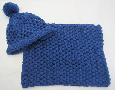 Handcrafted crochet blue woollen hat and snood set