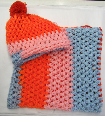 Handcrafted crochet pink, orange and blue woollen hat and snood set