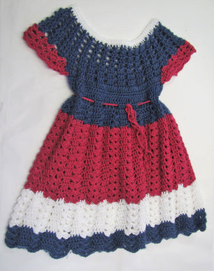 Handcrafted crochet blue and purple woollen child's dress