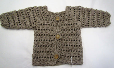 Handcrafted crochet taupe woollen child's cardigan 9-12 months