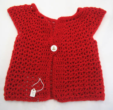 Handcrafted crochet red woollen child's cardigan 9-12 months