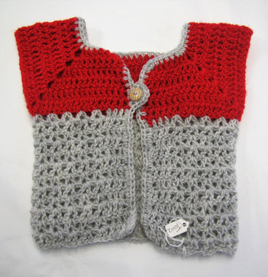 Handcrafted crochet Grey and red woollen child's cardigan 6-9 months