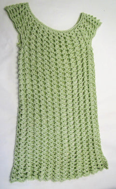 Handcrafted crochet green woollen child's dress