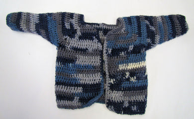 Handcrafted blue crochet woollen child's cardigan 6-9 months