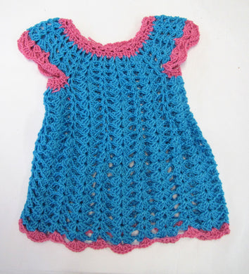 Handcrafted crochet blue and pink woollen child's dress 6 - 9  months