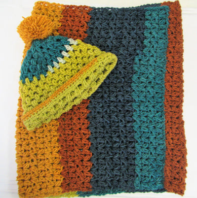 Handcrafted crochet blue, green and brown woollen hat and snood set