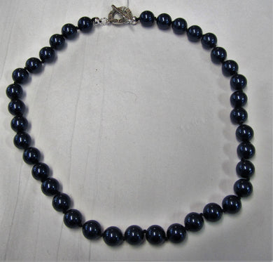 Beautiful handcrafted swarovski pearl blue necklace with toggle clasp