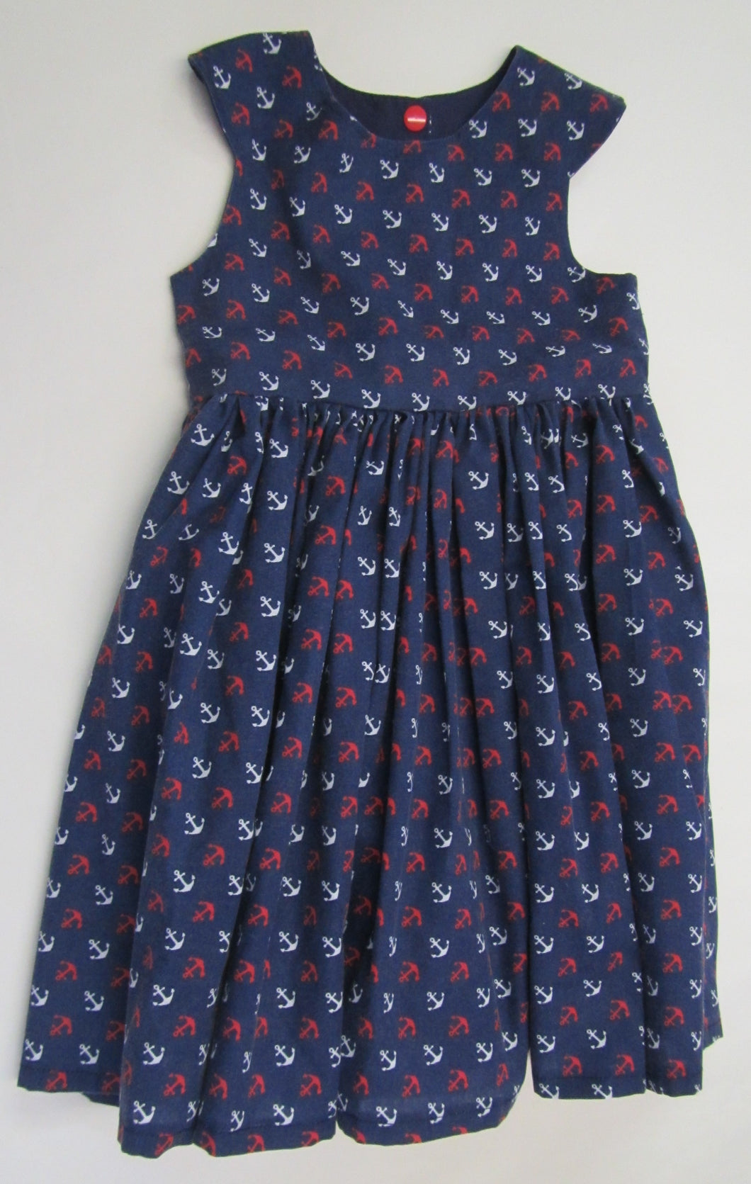 Hand crafted blue anchor dress fully lined 3-4 years