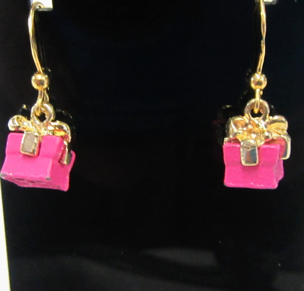 Handcrafted pink present earrings on 925 sterling silver gold plated hooks