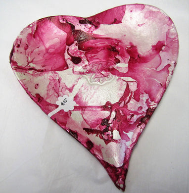 Ceramic handcrafted pink heart dish with
