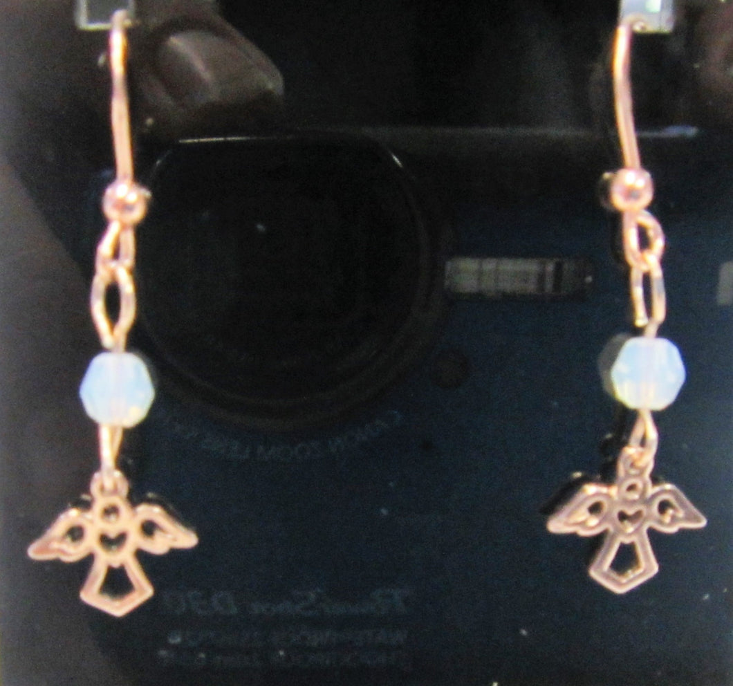 Handcrafted angel earrings on 925 sterling silver rose gold plated hooks and swarovski crystal