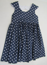 Hand crafted blue polka dot pattern dress 3-4 years