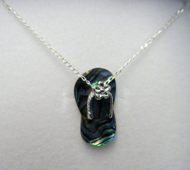 Beautiful handcrafted sterling silver necklace with abalone flip flop pendant