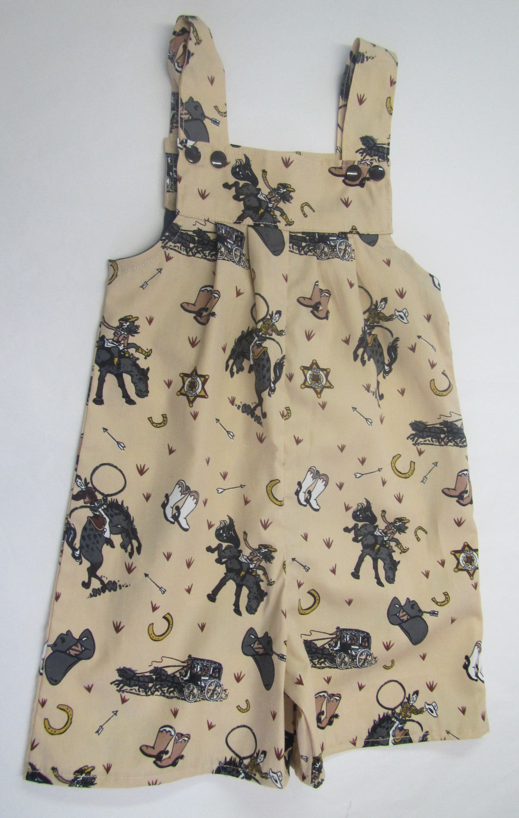 Hand crafted cowboy pattern romper shorts 2-3 years
