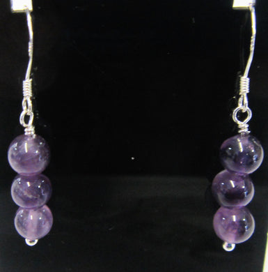 Handcrafted Sterling Silver amethyst earrings, approximately 4 cm in length