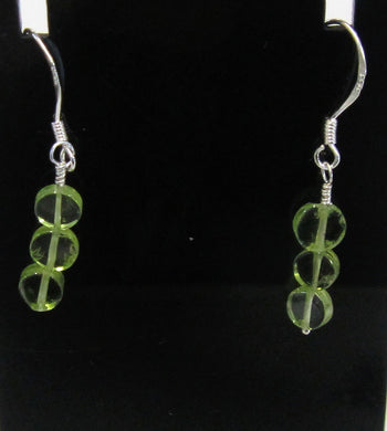 Handcrafted Sterling Silver peridot earrings, approximately 3 cm in length