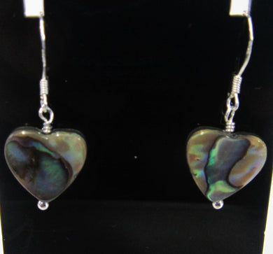 Handcrafted Sterling Silver abalone heart earrings, approximately 3 cm in length