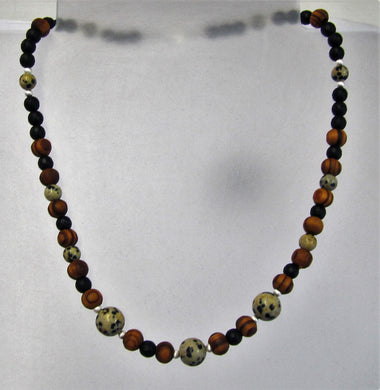 Handcrafted black agate, wood and dalmatian jasper necklace with silver clasp