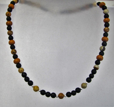 Handcrafted black agate, wood and picture jasper necklace with silver clasp