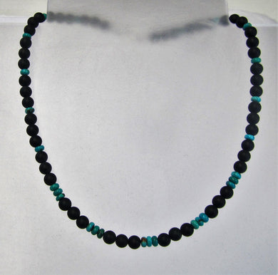Handcrafted black agate and sleeping beauty turquoise necklace with silver clasp
