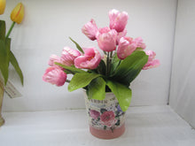 Handcrafted pink tulips in a tin (real imitation flowers)