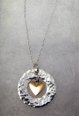 Handcrafted 925 sterling silver hammered circle with hanging rose gold heart necklace