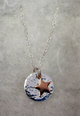 Handcrafted 925 sterling silver hammered disk with rose gold hanging star necklace