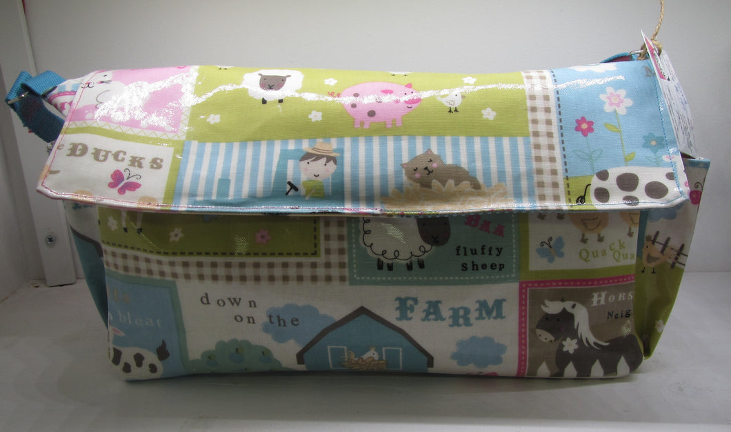 Beautiful handcrafted animal fabric nappy bag