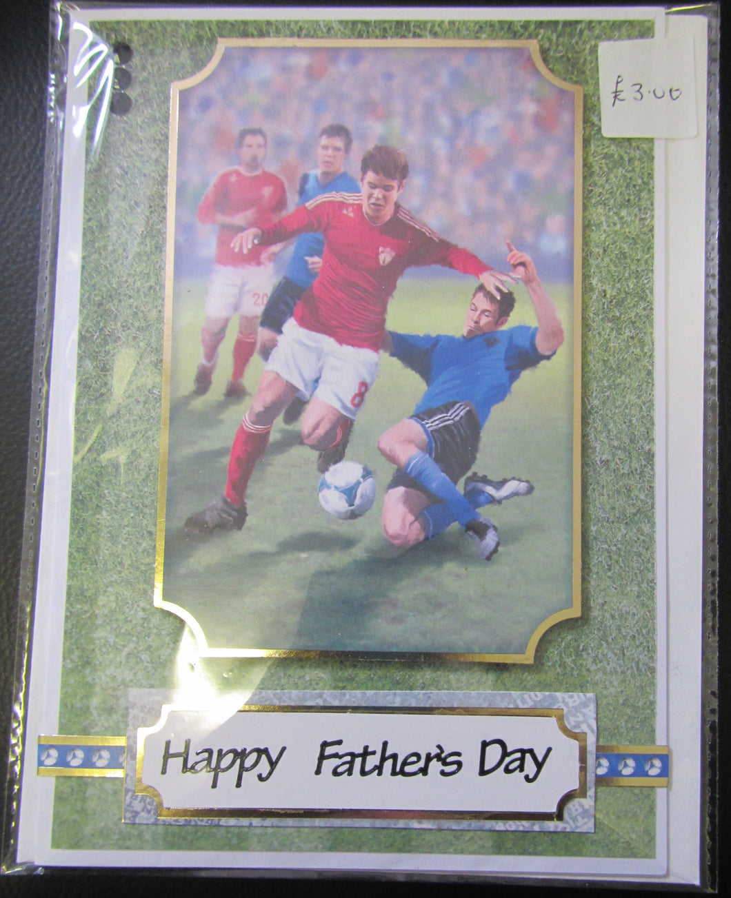 Handcrafted football themed father's day card