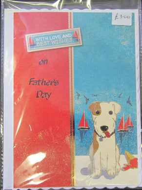Handcrafted dog themed father's day card