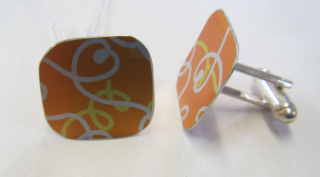Handcrafted beautiful anodised aluminium cuff links