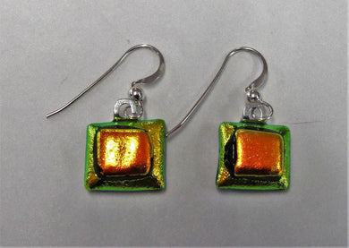 Handcrafted dichroic glass earrings on a sterling silver hooks