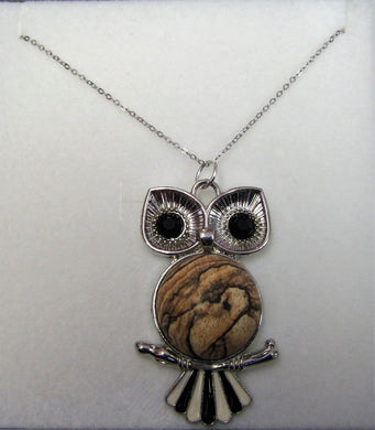 Beautiful handcrafted sterling silver necklace with Jasper owl pendant
