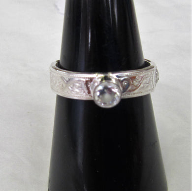 Handcrafted Sterling Silver patterned ring with cubic zirconia stone