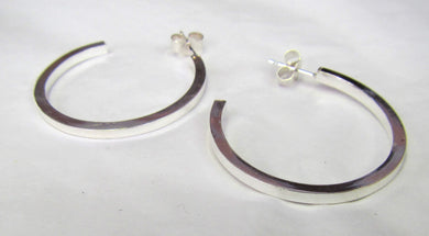 Hand crafted sterling silver square hoop earrings