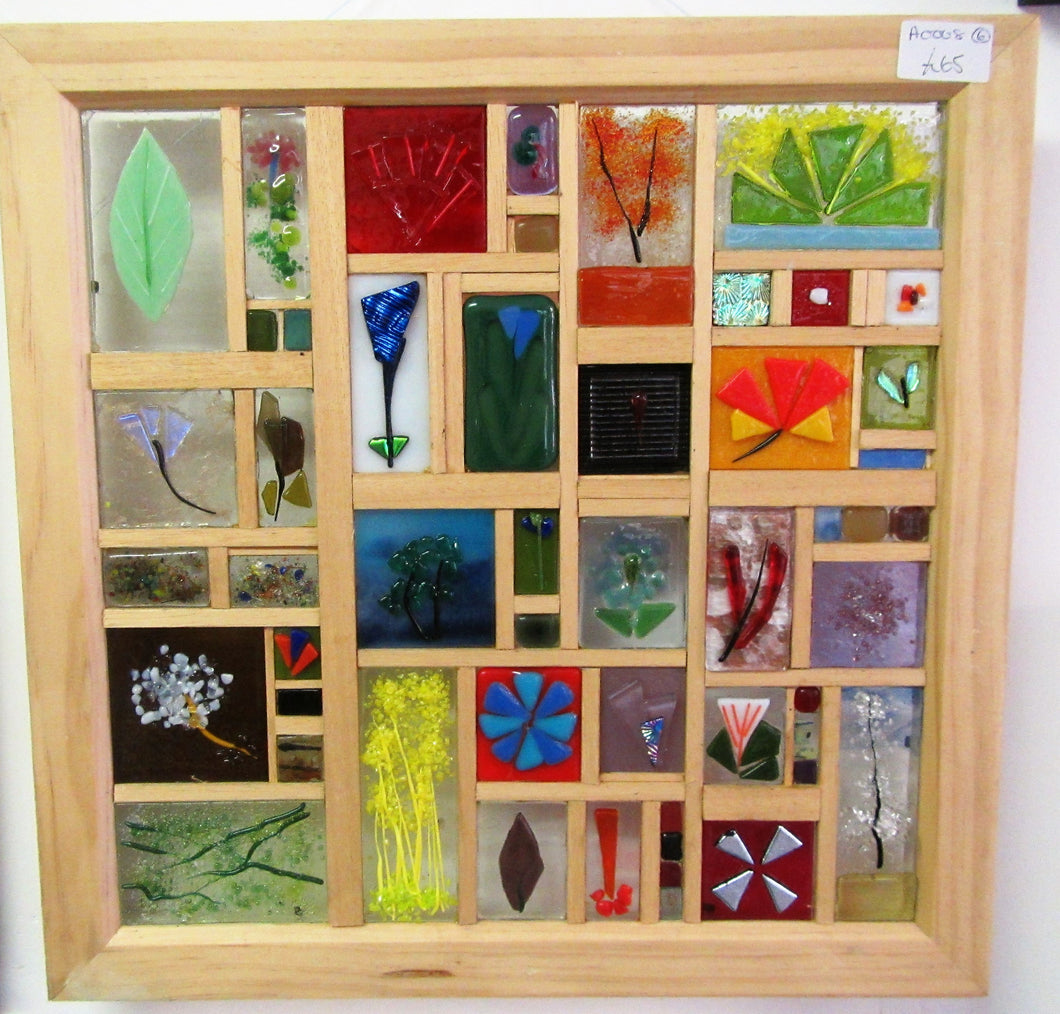 Beautiful handcrafted fused glass panel picture
