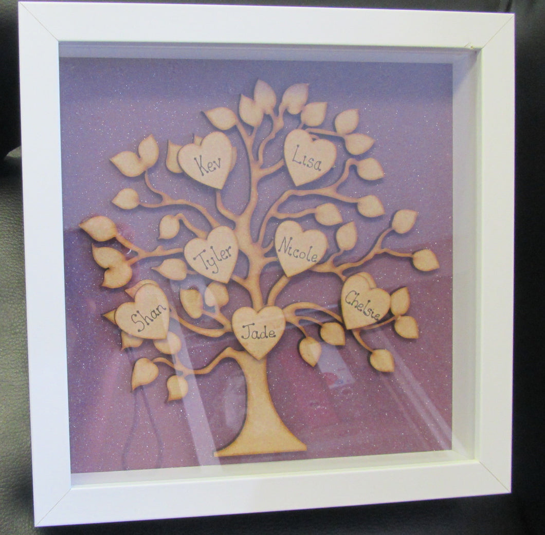 Made to order Family Tree 7 hearts Picture in frame