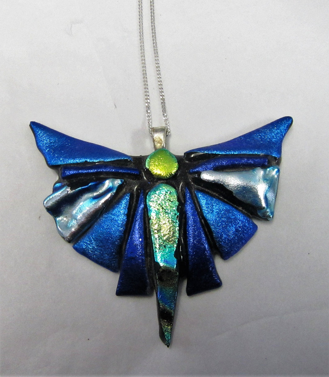 Handcrafted dichroic glass butterfly on a sterling silver necklace