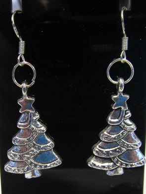 Handcrafted Christmas tree earrings on 925 sterling silver hooks