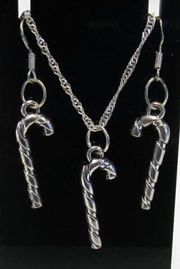 Handcrafted Candy cane earring and necklace set on 925 sterling silver hooks and chain