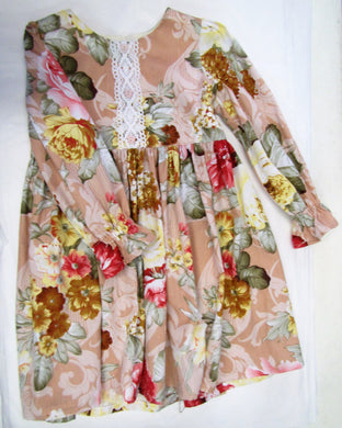 Handcrafted peachy floral long sleeve dress 4-5 years