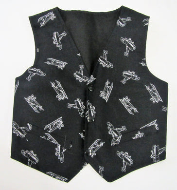Handcrafted black and white aeroplane waistcoat 2-3 years