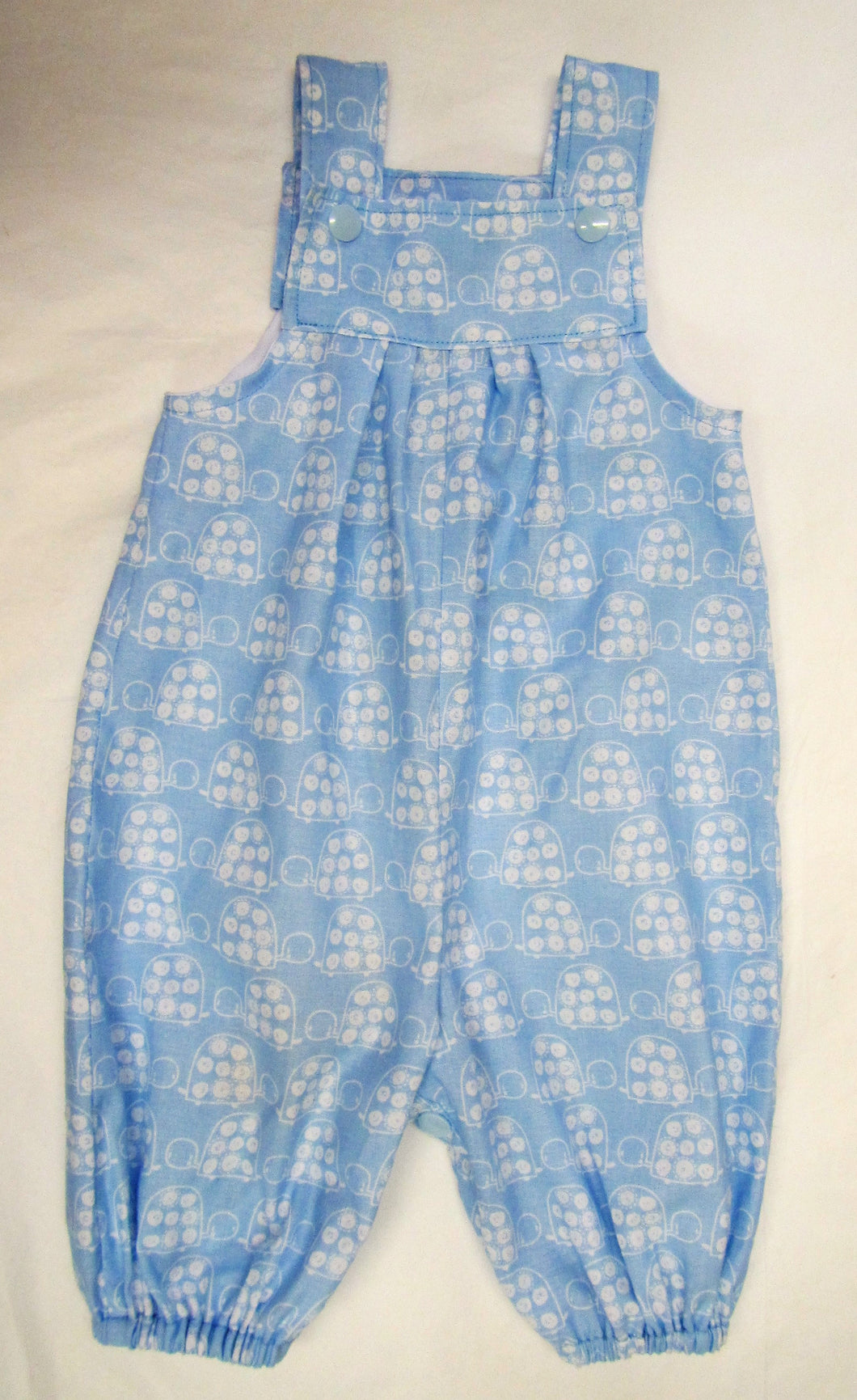 Handcrafted blue and white turtle romper  0-3 months