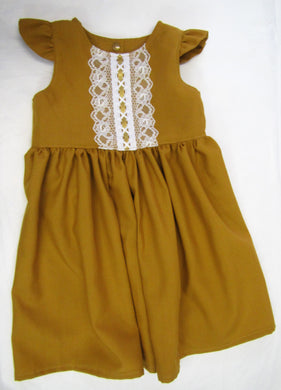 Handcrafted mustard lace ribbons dress 2 years