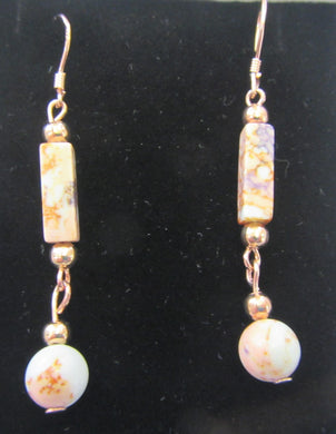 Handcrafted Jasper drop earrings on rose gold plated 925 sterling silver hooks